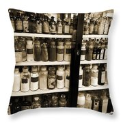 Old Drug Store Goods Throw Pillow