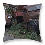 Old Dumptrucks Throw Pillow