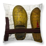Old Dutch Wooden Shoes Throw Pillow