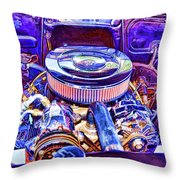 Old Engine Of American Car Throw Pillow