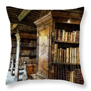 Old English Library Throw Pillow