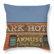 Old Faded Advertisement On An Old Brick Building Throw Pillow