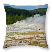 Old Faithful - An American Icon In Yellowstone National Park Wy Throw Pillow by Christine Till