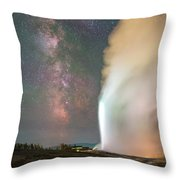 Old Faithful Erupts At Night Throw Pillow