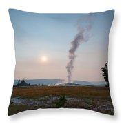 Old Faithful Steam Throw Pillow