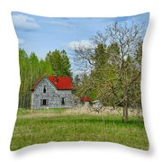 Old Farm House In Langley Throw Pillow