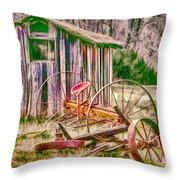 Old Farm Tools Throw Pillow