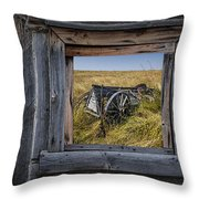 Old Farm Wagon Viewed Through A Barn Window Throw Pillow
