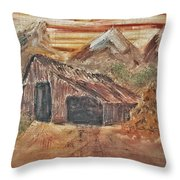 Old Farmhouse With Hay Stack In A Snow Capped Mountain Range With Tractor Tracks Gouged In The Soft  Throw Pillow