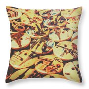 Old Fashion Landmark Buttons Throw Pillow