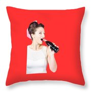 Old-fashion Pop Art Girl Drinking From Soda Bottle Throw Pillow