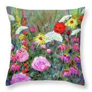 Old Fashioned Garden Throw Pillow
