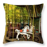 Old-fashioned Merry-go-round Throw Pillow