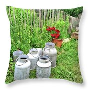 Old Fashioned Milk Churns Throw Pillow