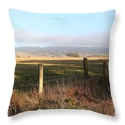 Old Fence And Landscape Along Sir Francis Drake Boulevard At Point Reyes California . 7d9965 Throw Pillow