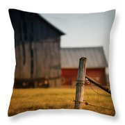 Old Fence With A Red Barn Throw Pillow