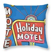 Old Fifties Vegas Hotel Sign Painting Throw Pillow