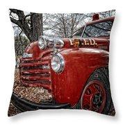 Old Fire Truck Throw Pillow
