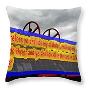 Old Fire Truck With Text 3 Throw Pillow