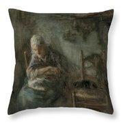 Old Fisherwoman Throw Pillow