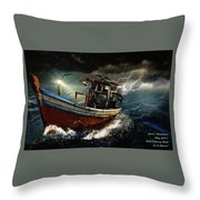 Old Fishing Boat In A Storm  L A Throw Pillow