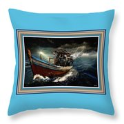 Old Fishing Boat In A Storm L B With Decorative Ornate Printed Frame. Throw Pillow