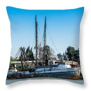Old Fishing Boat In Port Throw Pillow
