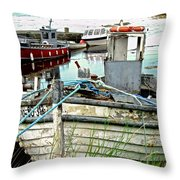 Old Fishing Boats Throw Pillow