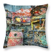 Old Fishing Gear Throw Pillow
