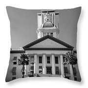 Old Florida Capitol In Black And White  Throw Pillow