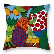 Old Folks Dancing Throw Pillow by Rojax Art