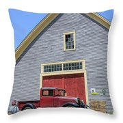 Old Ford Model A Pickup In Front Barn Throw Pillow