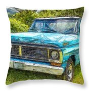 Old Ford Pick Up Truck Pencil Throw Pillow