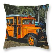 Old Ford School Bus No. 32 Throw Pillow