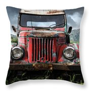 Old Forgotten Red Car Throw Pillow