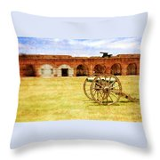Old Fort And Cannon Still Liife Throw Pillow
