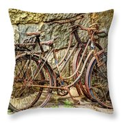 Old French Bicycles Throw Pillow by Debra and Dave Vanderlaan