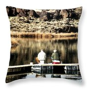 Old Friends Fishing Throw Pillow