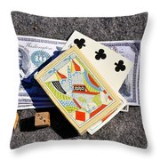 Old Gambling Articles Throw Pillow