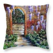 Old Garden Gateway Throw Pillow