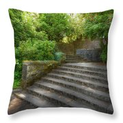 Old Garden With Stone Walls And Stair Steps Throw Pillow