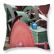 Old Gas Engine And Saw Blade At A County Fair Throw Pillow