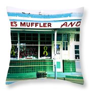 Old Gas Station Green Tile Throw Pillow