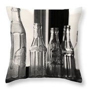 Old Glass Bottles Throw Pillow