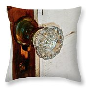 Old Glass Doorknob Throw Pillow