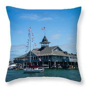 Old Glory Boat Parade Throw Pillow