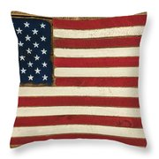 Old Glory Displayed On Wood Throw Pillow