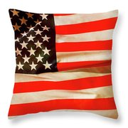 Old Glory Flag In Breeze Throw Pillow