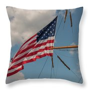 Old Glory Flying Over Eagle Throw Pillow