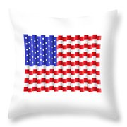 Pixilated Old Glory Throw Pillow